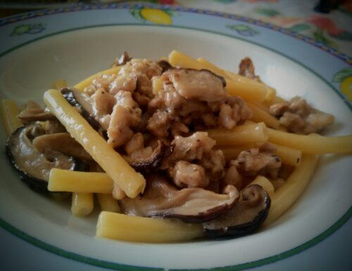 CUCINA/COLLABORAZIONE:Pasta con funghi shiitake e stracchino di capra, collaborazione con Ioboscovivo e formaggi Tomasoni