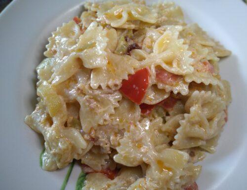 CUCINA:Pasta zucchine, pomodorini e tonno cremosa